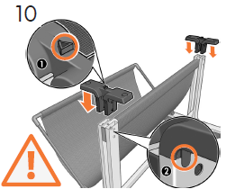 重要: 三角形のマークがバスケットの方を向くよ うにして(1)、 スタンドに2個のサポートを差し込 みます(各側に1個ずつ)。 各サポートを所定の位 置に押し下げます(2)。