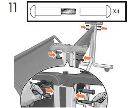 2個の特殊ネジとナットを脚部の両側に差し込み(合 計4個)、手で固く締めます。 注記: ネジが差し込 みにくい場合は、 前の手順に戻って、サポートが所 定の位置に取り付けられているか確認します。