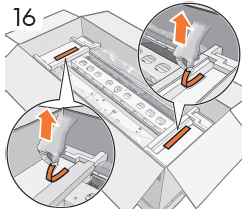 2個の赤色テープ(各側に1個ずつ)をエンド キャッ プから取り除きます。