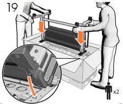 4本のネジ(各側に2本ずつ)でプリンタに脚部を固 定します。注記: ネジはゆるめておきます。
