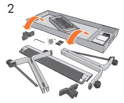 トレイの中身を取り外し、ドライバ、ネジ、プラス チック製の中間部品、クロスバー、ファブリック バ スケットおよび脚部を確認します。 トレイ拡張部品 も付属しています。 これらは後で行う組み立て手順 で必要となります。
