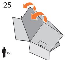 T100のみ: ハンドルを使って、 プリンタを床の上 で垂直方向に起こします。 注記: 箱のふたが開い たままであることに注意してください。