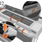 プリンタの上部および背面からオレンジ色のテー プを剥がします。 フロントパネルおよびプリンタの 表面から保護フィルムをすべて取り除きます。