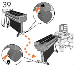 T500のみ: プリンタのキャスターのロックを解除 し、最終的な位置まで移動します。 安全のために再 びキャスターをロックします。
