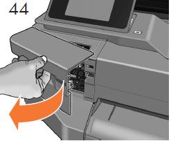 インクカートリッジを追加するよう求めるメッセー ジがフロントパネルに表示されます。カートリッジ カバーを開きます。