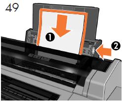 マルチシート トレイにA4サイズの用紙を1枚取り付 けます。 カット紙を取り付け(1)、 トレイを調整 し(2)、 [OK]を押します。 プリントヘッドの 軸合わせが初期化されます。