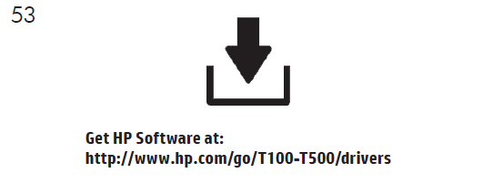 製品ソフトウェアは、からインストールしてください。 https://www.hp.com/go/T100-T500/drivers ソフトウェアインストール手順に従ってください。。 USB接続の場合:ソフトウェアをインストールする前に製品を接続すると、製品エラーが発生する可能性があり ます。