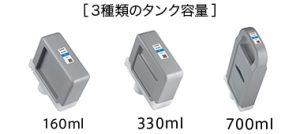 大容量インクタンク(160ml/330ml/700ml)