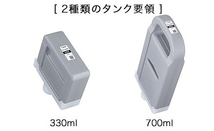 大容量のインクタンク(330ml/700ml)